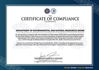 DENR FOI Certificate of Compliance CY2018